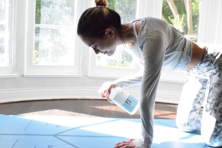Spraying Yoga Mat